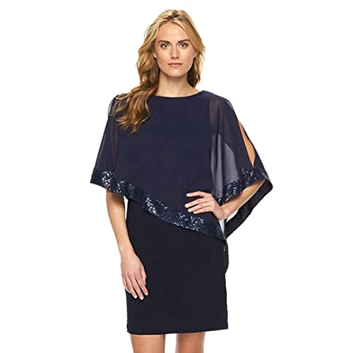 54c7e146a561 Gaddrt Women Slit Sleeve Sequins Flare Sleeve Mesh Chiffon Evening Party  Mini Dress Black Blue