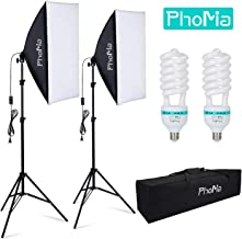 Phomia Softbox Lighting Kit 1350W Professional Studio Photography Continuous Light with 82.7-Inch Stand 20 x 28 Inch Reflectors and 135W 5500K E27 Socket Lights for Portrait Item Fashion Photography