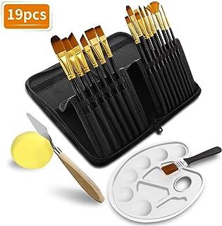 TOPERSUN 19 PCS Pinceles de pintura de nilón de manija de madera de formas diferentes de pintura al óleo de guache acuarela proveedores de arte acrílicos cepillo de pintura