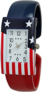 July Fourth Independence Day American United State Flag Bangle Watch with Rectangular Watch Face