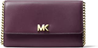 Leather Mott XL Wallet Clutch Crossbody Bag in Damson