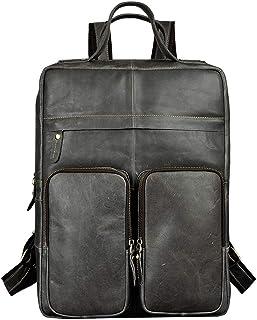 Cowhide Men Travel Bag University Student School Book Bag Design Backpack,Gray