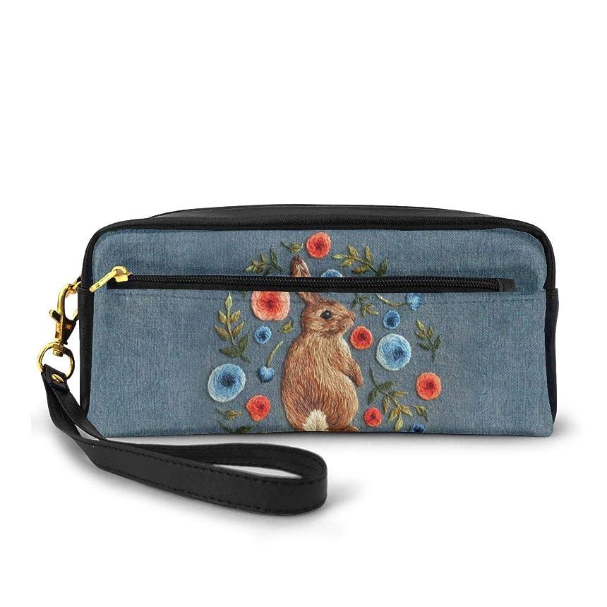 スイング肯定的具体的に花のかわいいウサギ 化粧品収納バッグ ウォッシュバッグ ハンドバッグ 化粧品袋 耐久性のある 筆箱 トラベルバッグ カラフルなス ポータブル スキンケア製品収納袋
