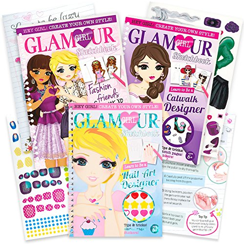 Glamour Girl Fashion Sketch Portfolio Set for Girls -- 3 Deluxe Sketchbooks for Future Fashion Designers