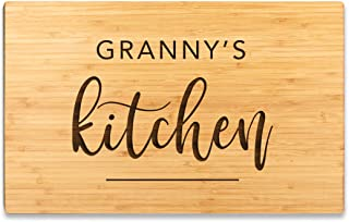 Andaz Press Large Bamboo Wood Cutting Board Gift, 17.75 x 11-inch, Granny's Kitchen, Modern, 1-Pack, Engraved Serving Chopping Board Christmas Birthday Chef Kitchen Ideas