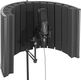 Pyle Mini Portable Vocal Recording Booth - Use with Standard Microphone, Isolation Noise Filter Reflection Shield for Recording Studio Quality Audio - Dual  Acoustic Foam Soundproof Panel PSMRS09