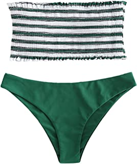 Women's Striped Smocked Bandeau Bikini Set Strapless Shirred Padded Two Piece Swimsuits