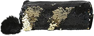 COAFIT Pencil Case Sequin Coin Pouch Cosmetic Bag Pen Holder Bag with Pom Pom