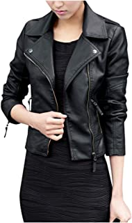 Women Leather Jacket Coat, Ladies Solid Long Sleeve Fashion Zipper Slim Biker Motorcycle Coat Outwear