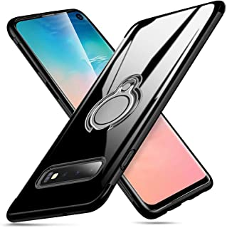 Atusidun Case for Samsung Galaxy S9 Thin Clear TPU Soft Protection Cover with Shock-Absorption 360° Rotating Magnetic Finger Ring Impact Resist Durable Case for Samsung Galaxy S9 Phone