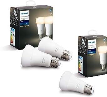 Philips Hue White Pack de 3 bombillas LED inteligentes E27, luz blanca cálida, compatible con Bluetooth y Zigbee (Puente Hue opcional), funciona con Alexa y Google Home
