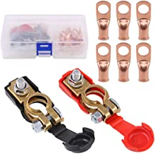 Keadic 8Pcs Copper Battery Terminals Negative and Positive Car Battery Cable Terminal Clamps Connectors with Heavy Duty Copper Ring Terminal Assortment Kit for Car Van Carts