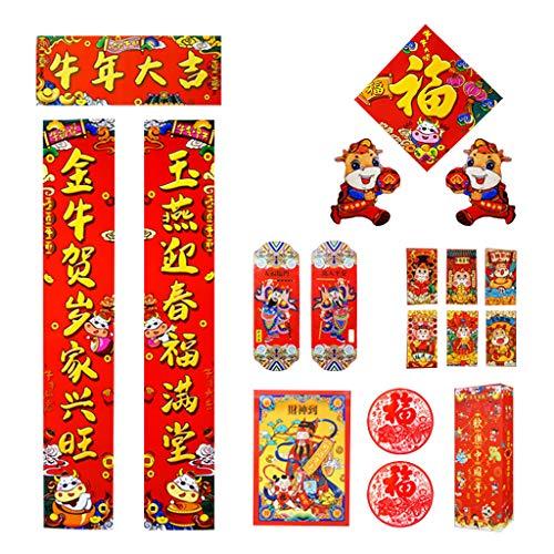XINGYUE Decoración de año nuevo chino, copletas chinos chunlian duiliano rojo sobres Hong Bao chino Fu caracteres de papel cortado primavera Festival adornos de fieltro para el año lunar