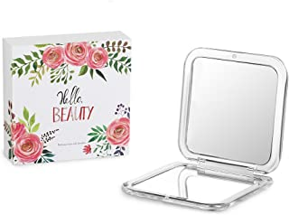 Jerrybox Compact Mirror, Double-Sided Travel Makeup Mirror with 5× Magnification Pocket-size Handheld Mirror for Purses