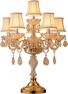 @Uncle Sam LI Crystal Table Lamp, Luxury High-Grade Gold Table Lamp with The Crystal and Fabric Lampshade for in The Living Room Bedroom Bedside Home Decorative Lights (Color : 6 Lights)