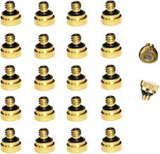 Redaiyuling Outdoor Brass Misting Nozzles, 22pcs/Pack 0.4mm Orifice Thread 10/24 UNC, Brass Mist Fog Nozzles for Greenhouse Landscaping Dust Control