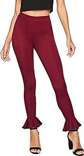 SweatyRocks Women's Casual High Waist Leggings Ruffle Hem Stretchy Work Pants