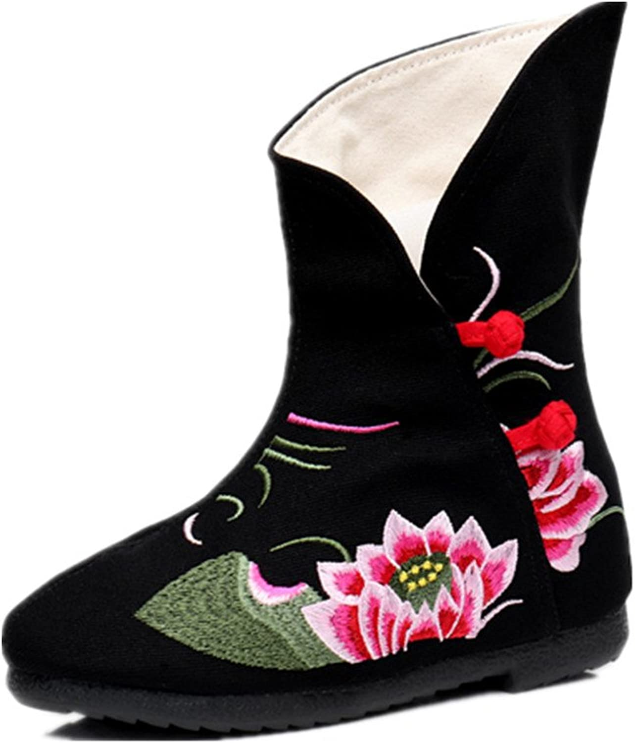 Tianrui Crown Women and Ladies The Lotus Embroidery Short Boots shoes