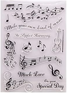 LZBRDY 5.9 by 8.3 Inch Musical Notes Violin Leaves Clear Rubber Stamps for Scrapbooking Card Making Christmas Valentine's ...