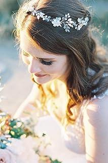 FXmimior - Fascia per capelli con fiori bianchi, accessorio per capelli da sposa, accessorio per capelli da sposa