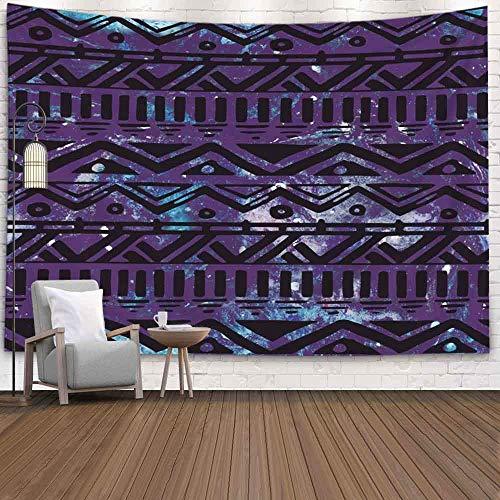 Tasperty Colgante de pared, Colgante de pared al aire libre Navidad Dibujado Patrón de fondo tribal negro Acuarela Pared cósmica Decoración de la habitación Arte de la pared Sala de estar Tapiz de tec