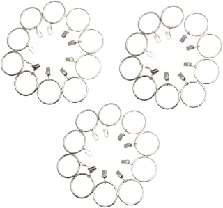 ZXHAO 4.0x50mm Metal Curtain Rings with Clips - Silver 30pcs