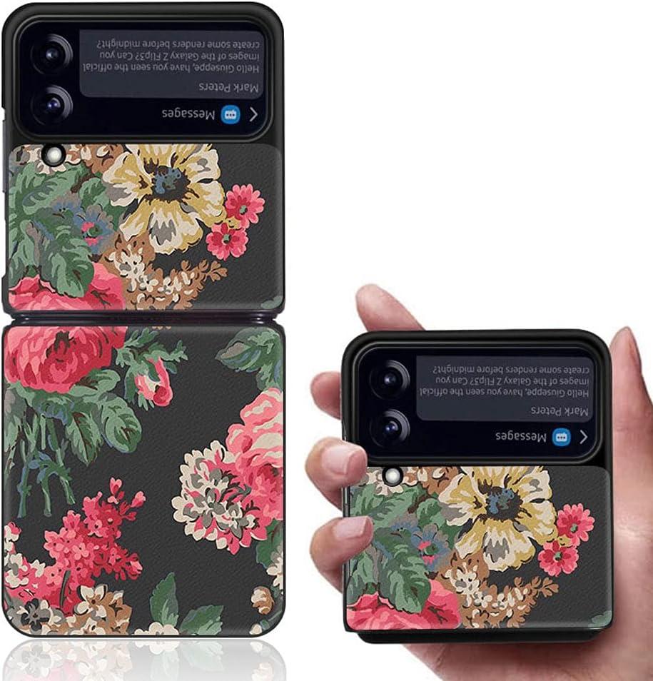 Yatchen Luxury Leather Case Apply to Samsung Galaxy Z Flip 3,Cute Pretty Flower Pattern for Women Dermatoglyph +Hard PC Bumper Flip Protector for Galaxy Z Flip 3 5G 2021 (Black&Red)