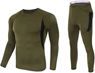LLTT Clothing Thermal Underwear Outdoor Men Clothing Breathable Compression Elasticity (Color : OD, Size : XL.)