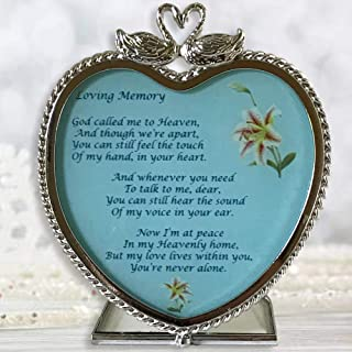 Memorial Gifts - Heart Candle Holder in Loving Memory Poem - God Called Me to Heaven Swans and Floral Design - Approx. 4 Inch High
