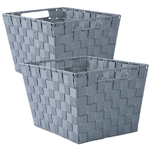 DII Durable Trapezoid Woven Nylon Storage Bin or Basket for Organizing Your Home, Office, or Closets (Basket - 12x10x8) Gray - Set of 2