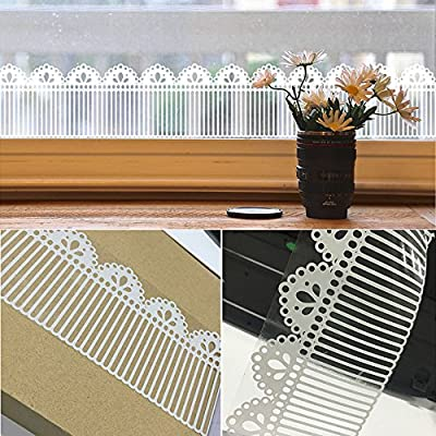 SimpleLife4U White Lace Transparent Removable Wallpaper Border Shop Display Window Sticker Bathroom Mirror Decor