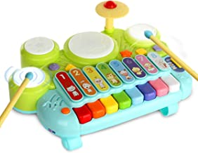 3 in 1 Toddler Drum Set Piano Keyboard Xylophone Toys Musical Instrument Learning Developmental Light Up Toys for Kids Baby Infant Boys Girls Age 1 2 3 4 Years Old