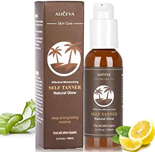 Aliceva Self Tanner - Tanning Lotion with Organic & Natural Ingredients, Flawless Darker Bronzer Skin, sunless tanning to avoid UV rays