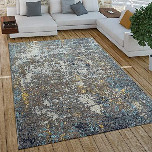 Paco Home Wohnzimmer Teppich Im Vintage Used Look, Industrial Style Kurzflor in Rostfarben, Grösse:120x170 cm, Farbe:Grau