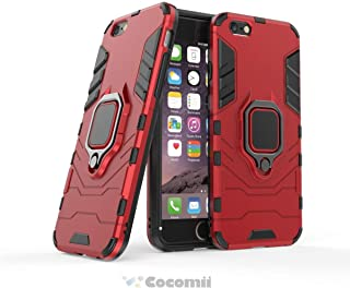 Cocomii Black Panther Armor iPhone 6S/6 Case NEW [Heavy Duty] Premium Tactical Metal Ring Grip Kickstand Shockproof Bumper [Works With Magnetic Car Mount] Full Body Cover for Apple iPhone 6S/6 (B.Red)