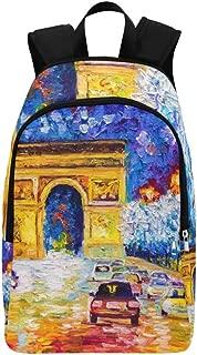 IIAKXNB Oil Painting Arc De Triomphe Paris Casual Daypack Travel Bag College School Backpack Mens Women