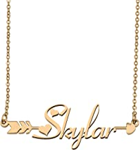 Aoloshow Customized Custom Name Necklace Personalized - Custom Any Initial Name Arrow Horizontal Monogrammed Necklace Gift for Womens Girls