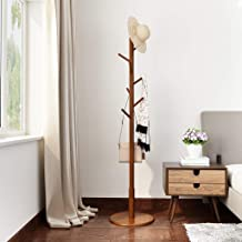 LANGRIA Rubber Wood Coat Rack Free Standing Hat Hanger Tree Holder, Suits Hallway Entryway Room Home Office, Clothes Organizer with Round Base, For Jackets Hats Bags Umbrella (8 Hooks, Coffee Color)