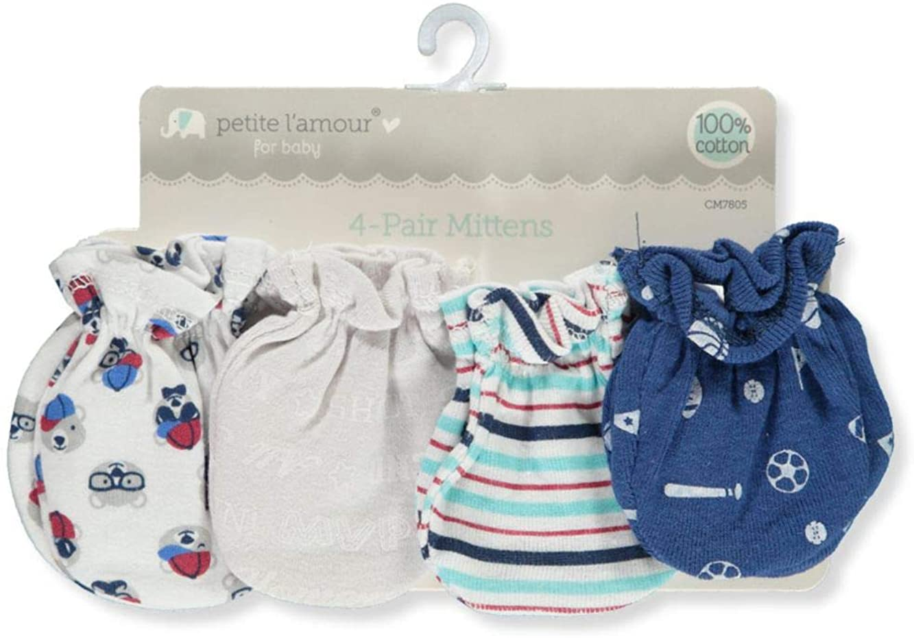 Petite L'amour Baby Boys' 4-Pack Mittens