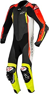 Alpinestars GP Tech v2 Leather One-Piece Suit (Tech Air Compatible) (48) (Black/White/RED Fluo/Yellow Fluo)