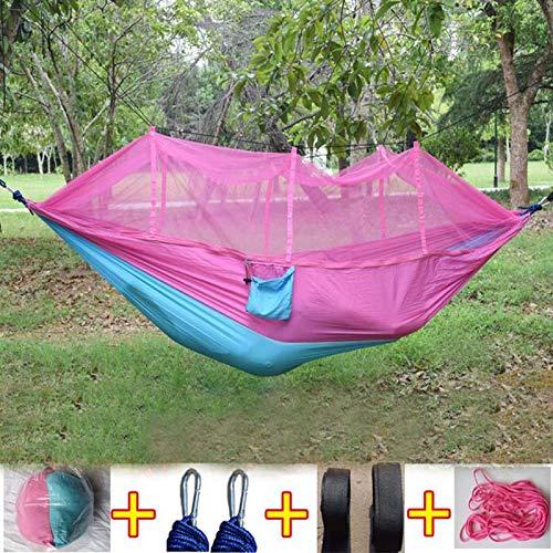Bureze Mode Parachute Tissu Hamac double personne Portable Moustiquaire Hamac pour meubles d'extérieur Camping Voyage Jardin balançoire Hamac