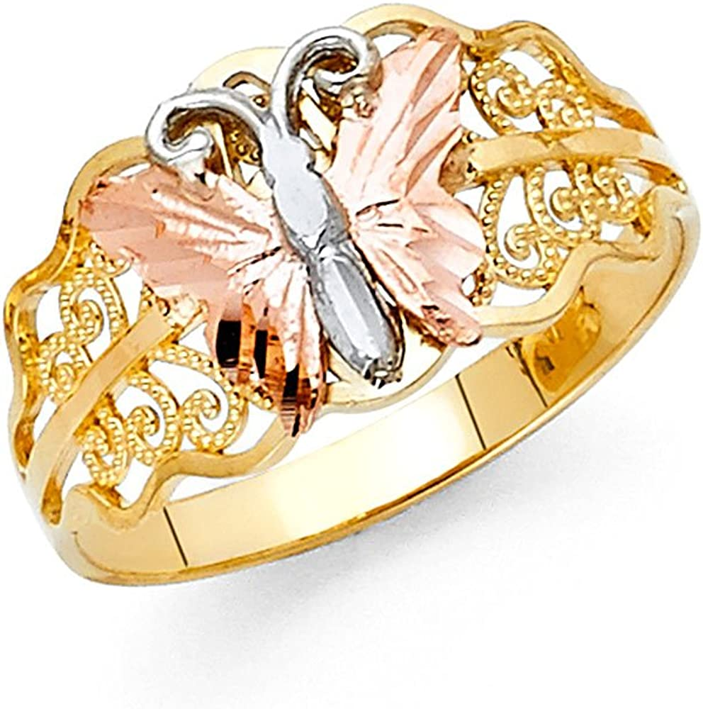 Sonia Jewels 14k Yellow White and Rose Three Color Gold Fashion Anniversary Butterfly Ring