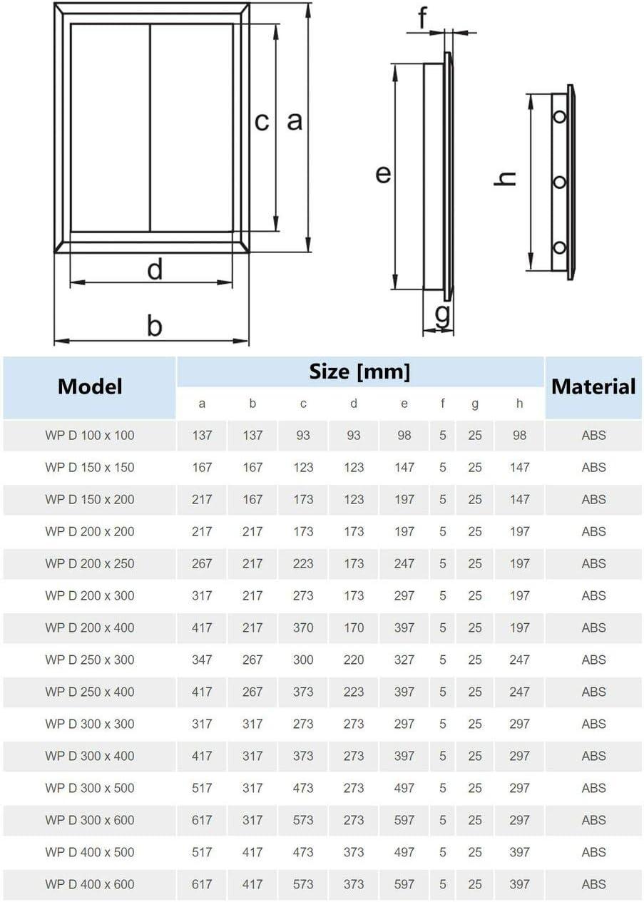 Value Access Panels Panneaux dacc/ès pour inspection Trappe Acc/ès Loft Panneau de porte de haute qualit/é en plastique Abs toutes les tailles