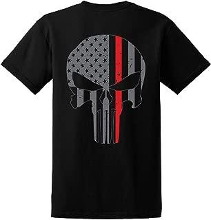 GunShowTees Men's Maltese Cross Thin Red Line Punisher Skull Fire Dept Shirt