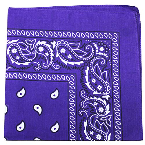 3 Pack Mechaly Dog Bandana Neck Scarf Paisley 100% Cotton Double Sided Bandanas - Any Pets (Purple)