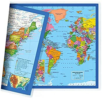 Classic United States USA and World Desk Map 2-Sided Print 2-Sided Sealed Lamination Small Poster Size 11.5 x 17.5 inches  1 Desk Map