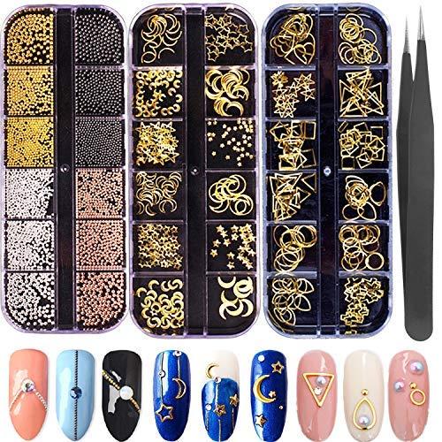 Nail Micro Caviar Perles 3D Nails Supply Studs Or Nail Art Décorations Charms Bijoux en Métal 36 Grilles Étoile Lune Coeur Triangle Carré Rivet Gemmes pour Ongles Ongles Ongles Décor Manucur