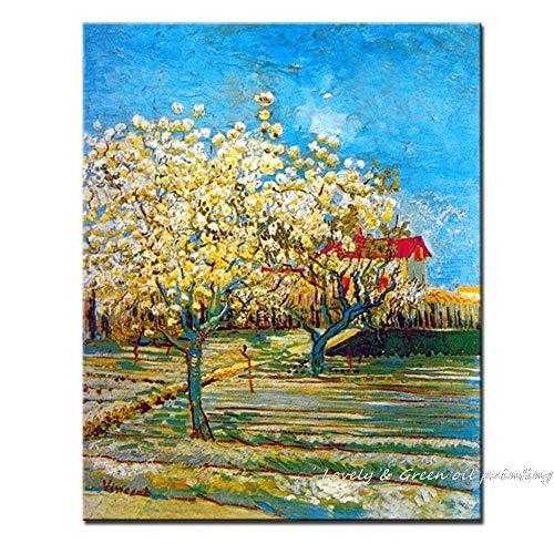 Ölgemälde Auf Leinwand Handgemalt,Obstgarten In Blüte Von Vincent Van Gogh Kunstwerk Malerei,Moderne Abstrakte Wandkunst Pop-Bild,Für Wohnzimmer Schlafzimmer Wanddekoration,80×120Cm Rahmenlos