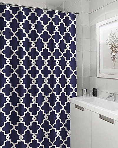 Ruthy's Textile Geometric Patterned Shower Curtain, Navy