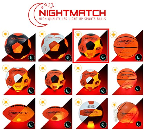 NIGHTMATCH Light Up Football - Flaming Red Edition - INCL BALL PUMP and SPARE BATTERIES - Inside LED lights up when kicked - Glow in the Dark Soccer Ball - Size 5 - Official Size & Weight